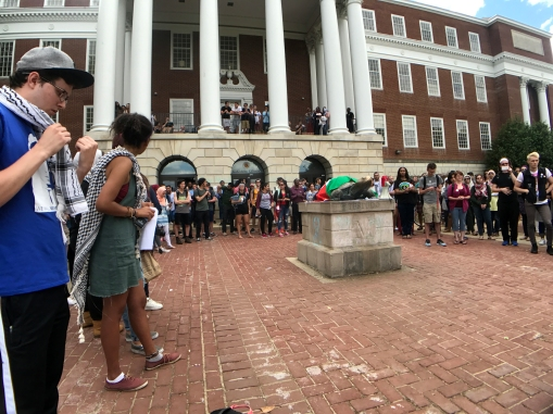 The crowd looks on as students presented in front of their wall on McKeldin Mall during the Boycott Israelfest Teach-In. (Julia Lerner/Photography Editor)