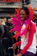 Dancers came from the Soka Tribe, a group that does Carnival-style dance and fitness classes around the United States. (Julia Lerner/Writer's Bloc)