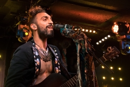 Guitarist Zang of Magic Giant presented an enthusiastic stage presence during the group's Rock And Roll Hotel set Thursday night (Jordan Stovka/Bloc Reporter).