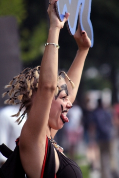 Juggalos descended on Washington on the 16 in order to protest the FBI's gang designation. Throughout the day, they heard speeches from fellow juggalos and musical performances. (Julia Lerner/Bloc Photographer)