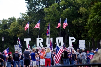 Trump supporters gathered early in the morning near the base of the Washington Monument. They planned ahead for a day of speakers and music. (Julia Lerner/Bloc Photographer)