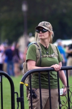 Militias, including members of the III%, arrived to help keep the peace between the two events on the mall- the Trump Rally and the Juggalo March. (Julia Lerner/Bloc Photographer)