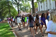 "On October 6th, 2017 PSA leads a ""Slut Walk"" across campus to raise awareness about sexual assault and rape culture. (Lisa Woolfson/ The Writer's Bloc)"