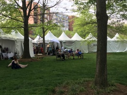 Tents near the National Cathedral. (Sara Karlovitch/Bloc Reporter)